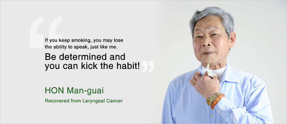 Mr HON Man-guai, recovered from laryngeal cancer